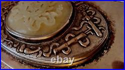 Old Antique Chinese silver metal box with carving