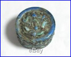 Old Chinese 19th Century Silver Enamel Opium Pill Canister Jar Box Signed