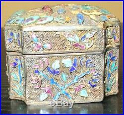 Old Chinese Deer Silver Cloisonne Repousse Enamel Cricket Opium Jar Box