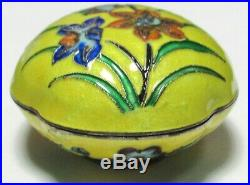 Old Chinese Floral Design Silver Cloisonne Yellow Enamel Trinket Snuff Jar Box