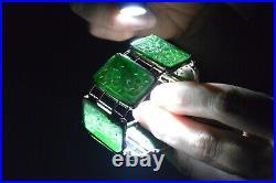 Old Chinese Gilt Silver Jade Jadeite Carved Carving Flower Plaque Bracelet Box