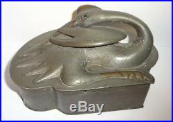 Old Chinese Mixed Metals Pewter & Bronze/Brass Crane Figure Box Marked