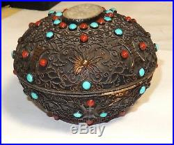 Old Chinese Silver White Jade Gemstones Gold Gilt Canister Caddy Jar Box