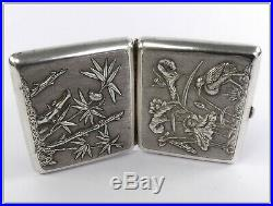 Old Chinese Silver box, birds decor flower bamboo. 19th century