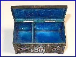 Old Silver Gilt Cloisonne Repousse Enamel Chinese Geisha Girls Stamp Jar Box