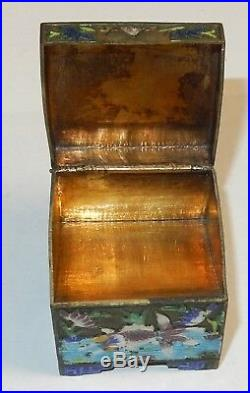 Old Silver Gilt Cloisonne Repousse Enamel Chinese Koi Fish Stamp Jar Box