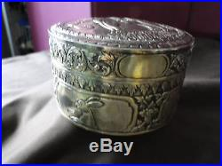 Oriental Silver Gilt Box Rounded Dated Circa 1860 Elephants Engraved & Chased