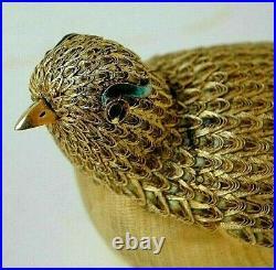 Pair (2) Chinese 950 Silver Gold Gilt Enamel Filigree Bird Full Figural Boxes