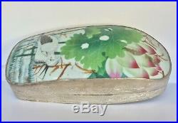 Pair Antique Chinese Porcelain Shard in Silver Plated Box with Crane and Flowers