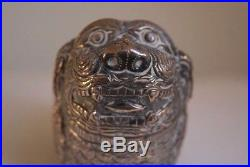 Pair Antique Early 20th Century Chinese Silver 800 Foo Lion Dog Trinket Boxes