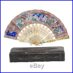 Perfect 19th C. Century Chinese Silver Filigree & Enamel Quality Fan With Box