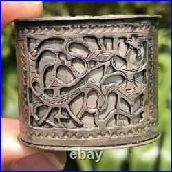 RARE ANTIQUE CHINESE SILVER OPIUM Tobacco CONTAINER HIDDEN STASH STAMPED ASIAN