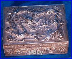 Rare Antique Chinese Solid Sterling Silver Box Ca 1920 Signed