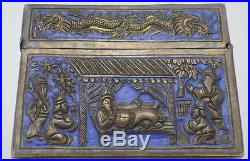 RARE Antique Chinese Cambodian SOLID Silver Embossed Enamel Box 521g c1800-1850