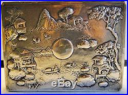 Rare Chinese Export Silver Jewelry Box Orig. Stand Repousse Decor + Key Snd 1860