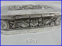 RARE, CHINESE EXPORT silver TRINKET BOX, c1890, 97gm