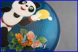 RARE CLOISONNE Silver Wire PANDA TABLE TENNIS OLYMPICS BOX plate vase chinese