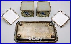 RARE Chinese Solid Sterling 950 Silver / Enamel Tray & Boxes Set 586.9 grams