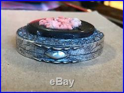 RARE Early 20th Century Chinese Sterling Silver CORAL Rouge Compact Case Box