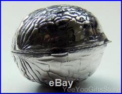 RARE & FINE Chinese/Japanese SOLID SILVER export WALNUT snuff/PILL BOX