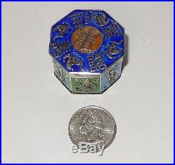 Rare Old Chinese Silver Cloisonne Repousse Enamel Bats Hexagon Opium Jar Box