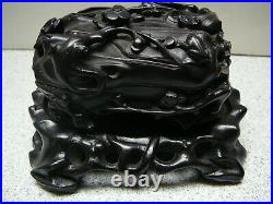 Rare 18thC Chinese finely carved zitan silver wired wood covered box on stand