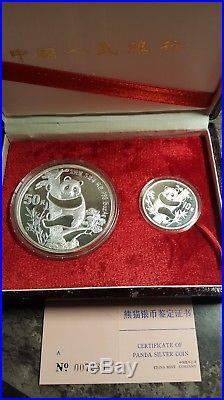 Rare 1987 50 &10 Yuan Chinese Pandas 5 oz &1oz. 999 Silver 2 Coin Box Set withCOA
