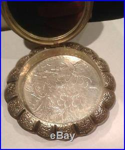 Rare 19th Century China Chinese Dragon Silver Export Powder Compact With Box