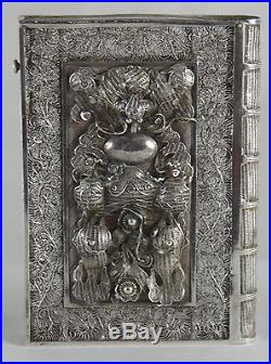 Rare Antique Chinese Book Form Silver Filigree Calling Card Case