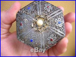 Rare Antique Chinese Enameled Sterling Silver Filigree Box W Pearl Top