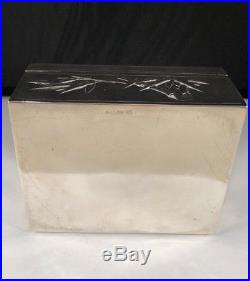 Rare Antique Chinese Export Lain Chang Sterling Bamboo Motif Tea Caddy Box 273g