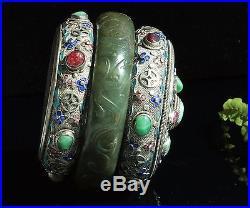 Rare Antique Chinese Green Nephrite Jade Bangle Enameled jeweled Silver Box