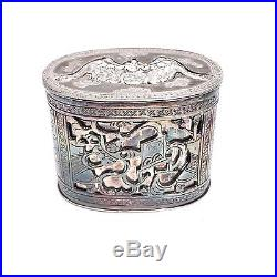 Rare Antique Chinese Silver 3 Part Opium Trinket Snuff Box Signed Bat Seal Top