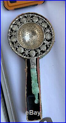 Rare Antique Chinese Silver Mark Green Jade Handle Tea Strainer Half Box AF