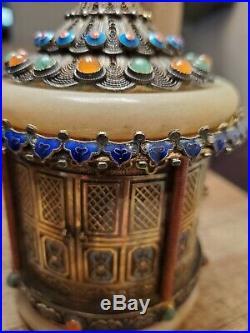Rare Antique Chinese export Jade Sterling Silver Filigrane Filigree Enamel Box