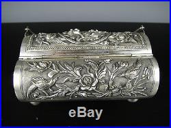Rare Beautiful Chinese Solid Silver Jewelry Box With Bird&Fish. 19th C. Marked