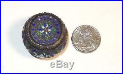 Rare Small Chinese Silver Cloisonne Enamel Opium Pill Canister Jar Box Signed