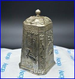 Rare VTG Asian Chinese Tea, Tobacco, Spice Box Dragons Cranes Vines Silver Tone