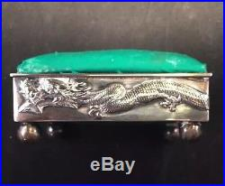 Rare Wang Hing Chinese Sterling Silver Dragon Pin Cushion / Box Circa 1890-1900
