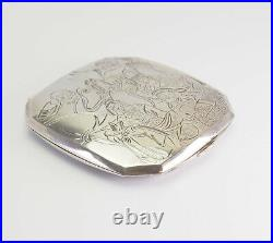 Rare antique Art Deco etched signed Chinese 950 silver compact mirror powder box