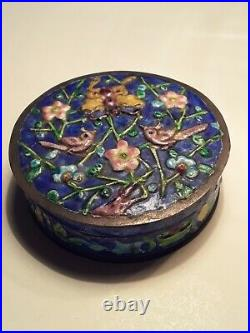 Republic Period Antique Chinese Enamel Silver Box Marked