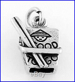 STERLING SILVER CHINESE TAKE-OUT TO GO BOX WithCHOPSTICKS CHARM