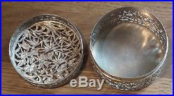 Stunning 19th Century Chinese Export Silver Circular Box Pierced Decoration