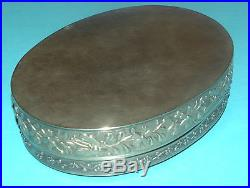 SUPERB RARE ANTIQUE CHINESE SOLID SILVER CORAL JADE BUTTERFLY DESIGN BOX