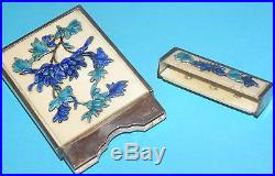 SUPERB RARE ANTIQUE CHINESE SOLID SILVER ENAMEL PEONY CARD CASE HOLDER SIGNED