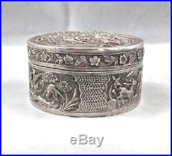Set of 3 Chinese Export Sterling Figural Nesting Boxes