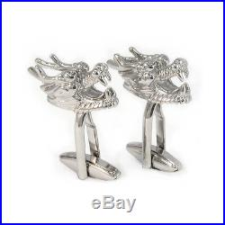 Silver Coloured Chinese Dragons Head Cufflinks Gift Boxed AJ038 auspicious NEW