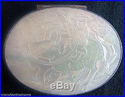 Snuff Box Antique Chinese Silver Carved Mother of Pearl Water Buffalo (#4750)