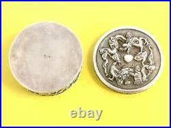Solid Silver China Box Dragon Chinese Export Silver Box With Dragon