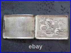 Solid Silver Chinese Export Silver Box Dragon Case a Cigarette Dragon China